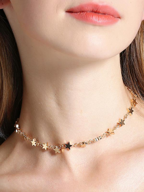 Stars Alloy Hollow Out Necklace, Gold