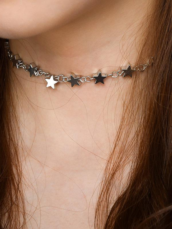Stars Alloy Hollow Out Necklace, Silver