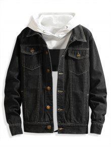 Chest Pocket Solid Color Jean Jacket