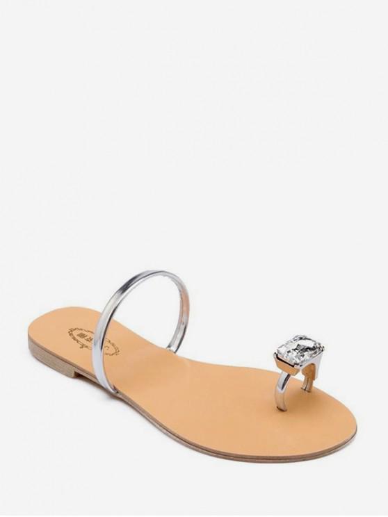 Sandalias Planas con Anillo de Dedo con Diseño de Gema Falsa - Plata EU 41