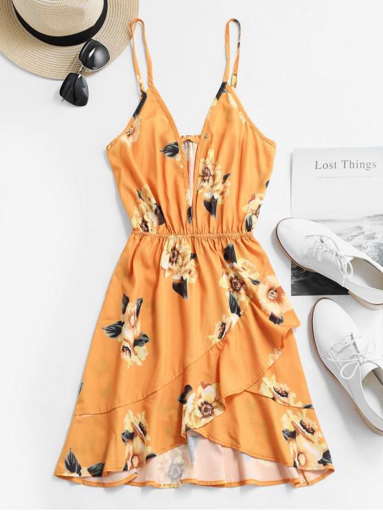 trendy Floral Cut Out Ruffles Cami Dress - YELLOW XL