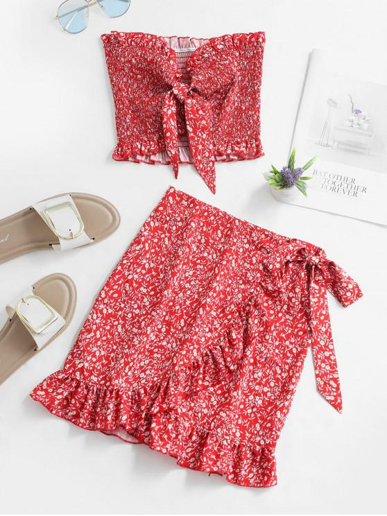 unique Floral Smocked Bandeau Top And Ruffles Skirt Set - RED S