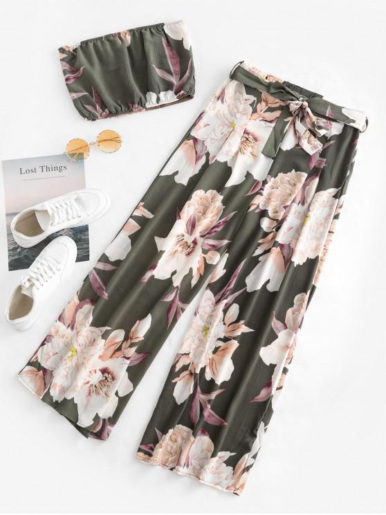 hot Floral Bandeau Top And Wide Leg Pants Set - GREEN L