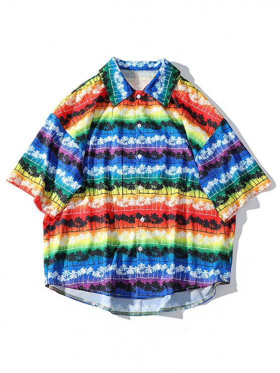 shop Rainbow Palm Tree Print High Low Hawaii Beach Shirt - FANTASTIC L