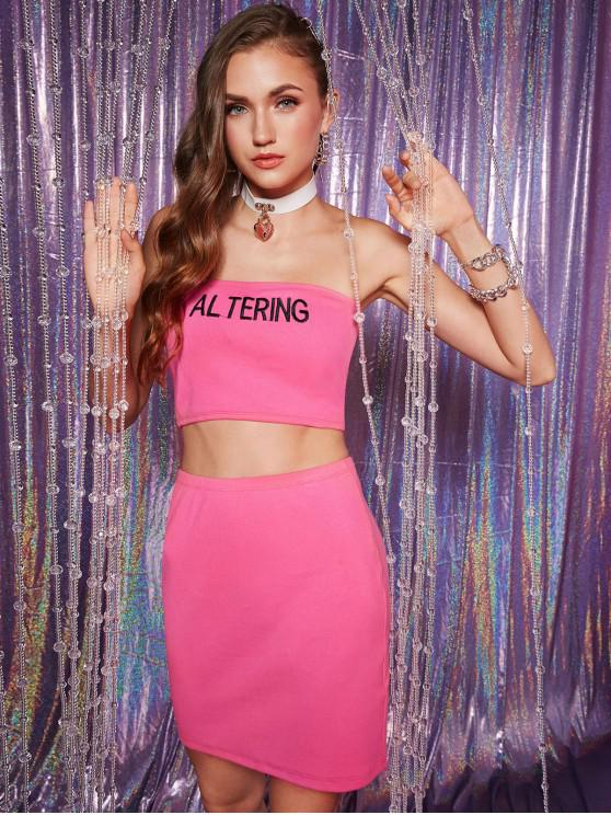 women ZAFUL Altering Embroidered Ribbed Two Piece Dress - HOT PINK XL