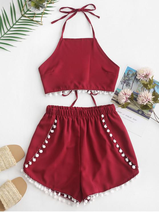 hot Pompom Trim Halter High Waisted Shorts Set - RED WINE S