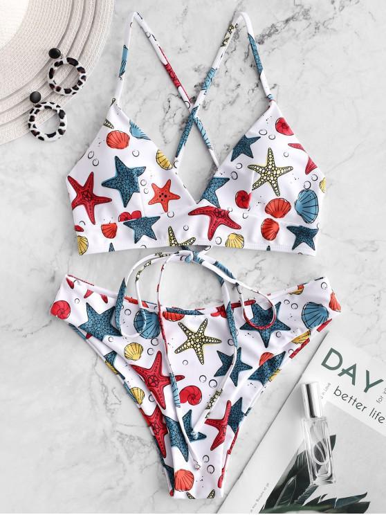 ladies ZAFUL Starfish Shell Print Lace Up Padded Bikini Swimwear - MULTI-A S