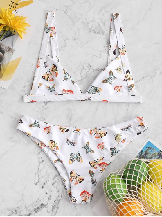 hot ZAFUL Butterfly Print Bikini Swimsuit - WHITE L