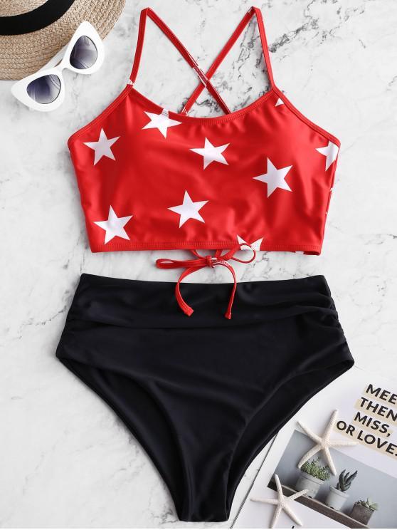 ladies ZAFUL Star Print Lace Up Tummy Control Tankini Swimsuit - MULTI-A XL