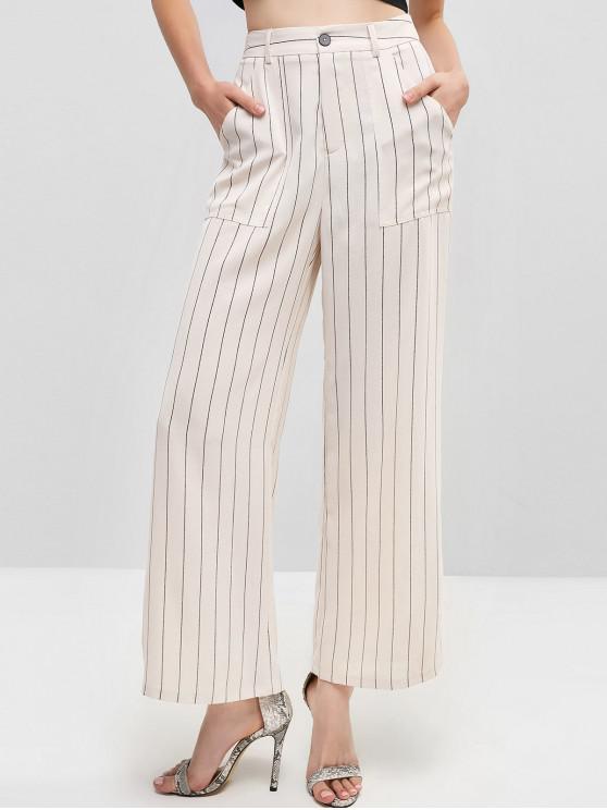 buy ZAFUL Striped Zipper Fly Pocket Wide Leg Pants - WARM WHITE M