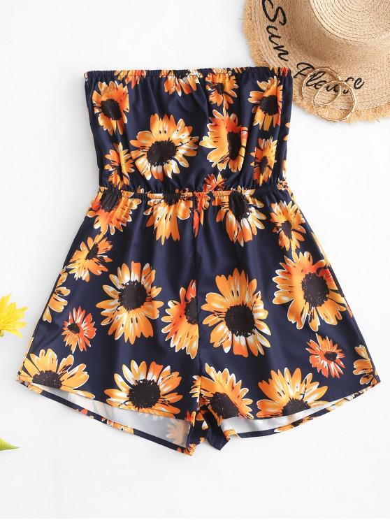 women ZAFUL Sunflower Print Strapless Wide Leg Romper - DEEP BLUE M