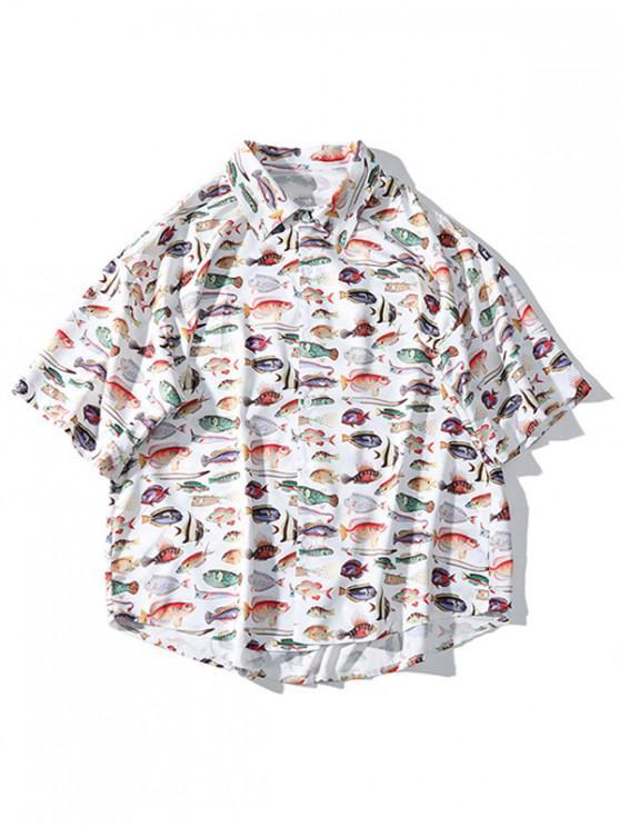 cdd8b37e4c chic Fish Allover Print Drop Shoulder High Low Beach Shirt - SILK WHITE XL