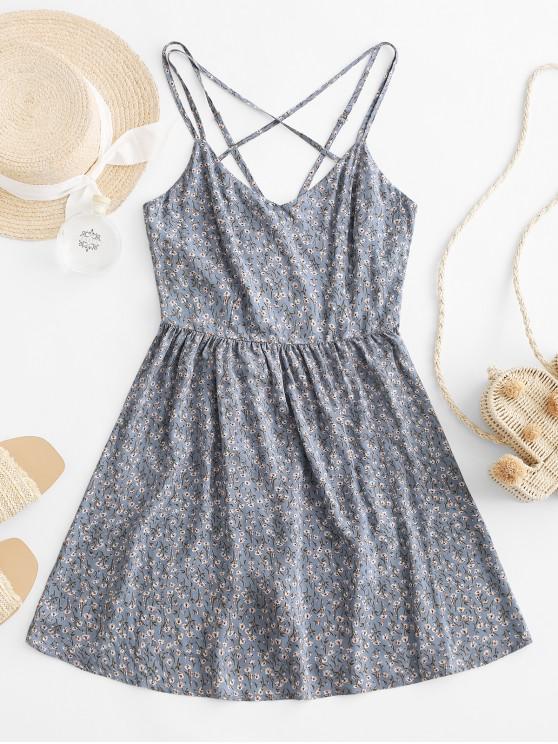 ZAFUL Criss Cross Strappy Ditsy Floral Cami Dress - Blu Grigio S