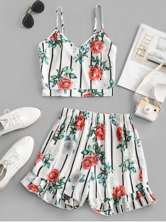 shops ZAFUL Striped Flower Smocked Wide Leg Shorts Set - MILK WHITE L