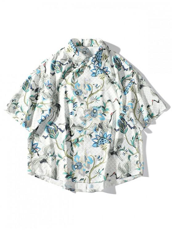 hot Flying Crane Plant Flower Print Drop Shoulder Beach Shirt - WARM WHITE M