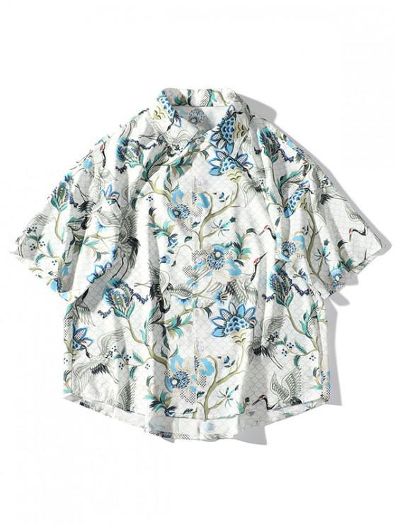2f6bc18b31 outfit Flying Crane Plant Flower Print Drop Shoulder Beach Shirt - WARM  WHITE L