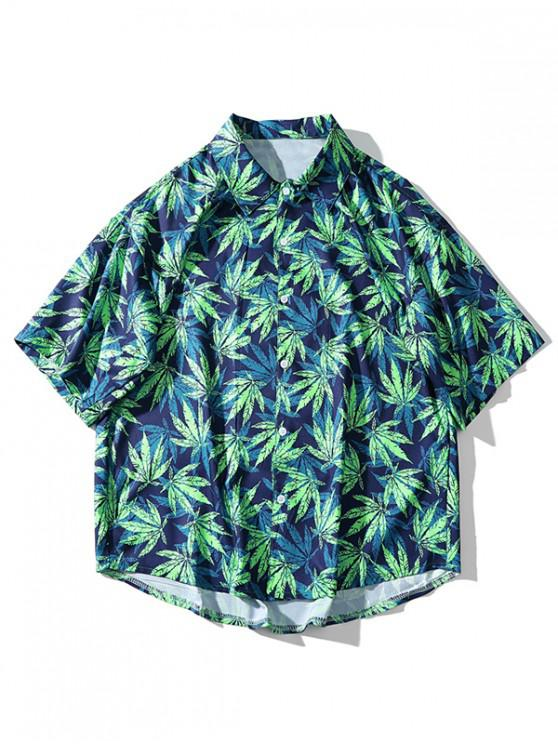 women Short Sleeve Plant Leaf Allover Print Beach Shirt - DARK SLATE BLUE M