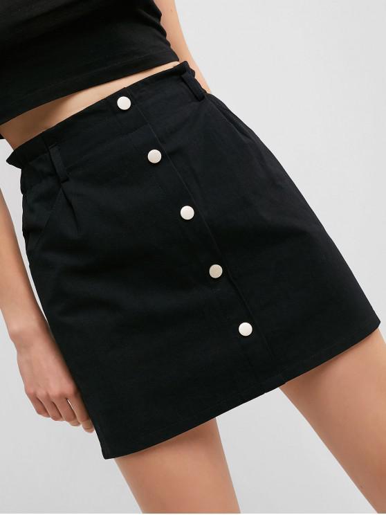 8c177b689 Botones de cintura alta una línea de falda sólida
