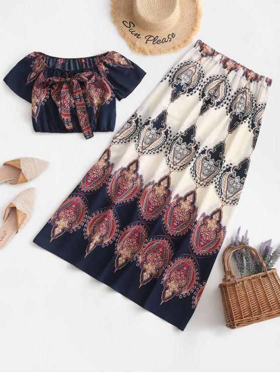 womens Off Shoulder Tribal Print Maxi Skirt Set - MULTI-A S