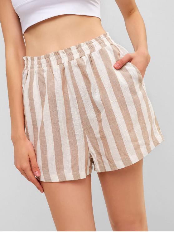 chic ZAFUL High Waisted Striped Pocket Shorts - MULTI L