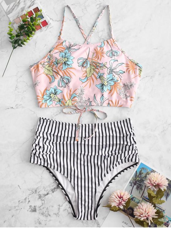 ZAFUL Flower Striped Lace Up Tummy Control Tankini traje de baño - Multicolor-A M