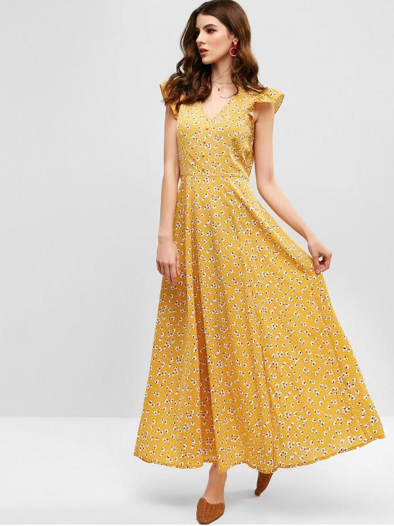trendy ZAFUL Floral Print Plunge Neck Slit Maxi Dress - BEE YELLOW S