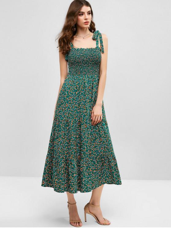 trendy ZAFUL Ditsy Floral Tie Shoulder Smocked Midi Dress - GREENISH BLUE XL