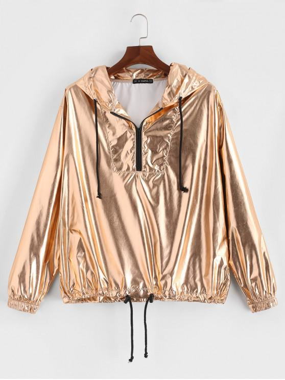 fancy ZAFUL Solid Color Metallic Half Zipper Hoodie - GOLD M