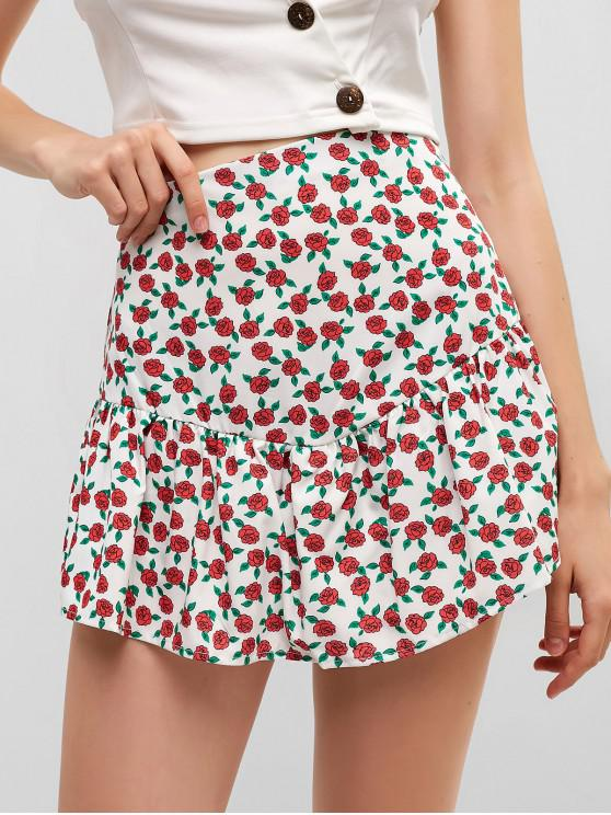 outfit Side Zipper Overlay Floral Skorts - MULTI-A L