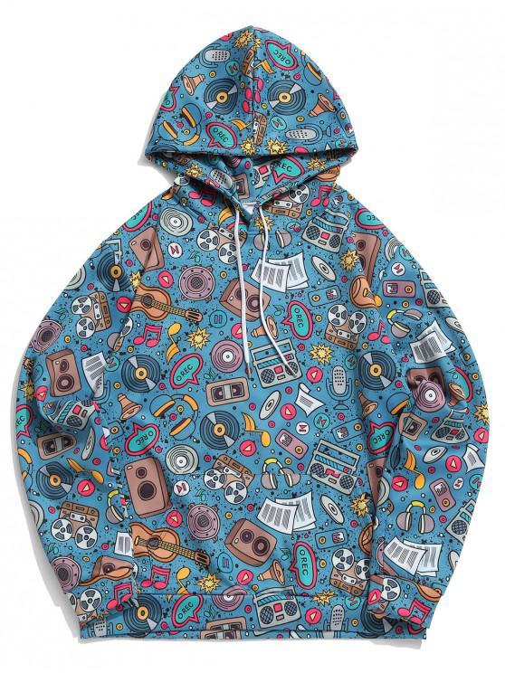 hot Kangaroo Pocket Music Elements Print Pullover Casual Hoodie - PEACOCK BLUE 4XL
