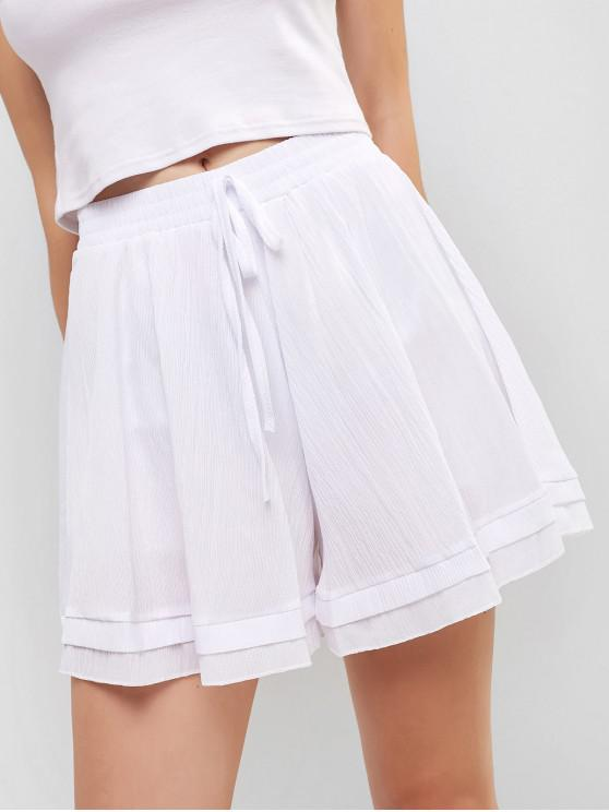 outfit High Waist Knotted Wide Leg Shorts - WHITE ONE SIZE