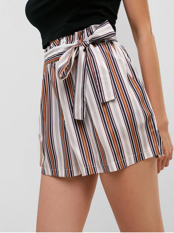 unique Striped Belted Wide Leg Paperbag Shorts - MULTI-A M
