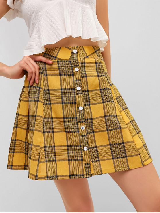 hot Button Up Plaid A Line Mini Skirt - YELLOW L