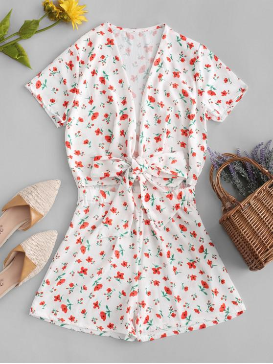outfits Flower Plunging Tied Romper - WHITE L