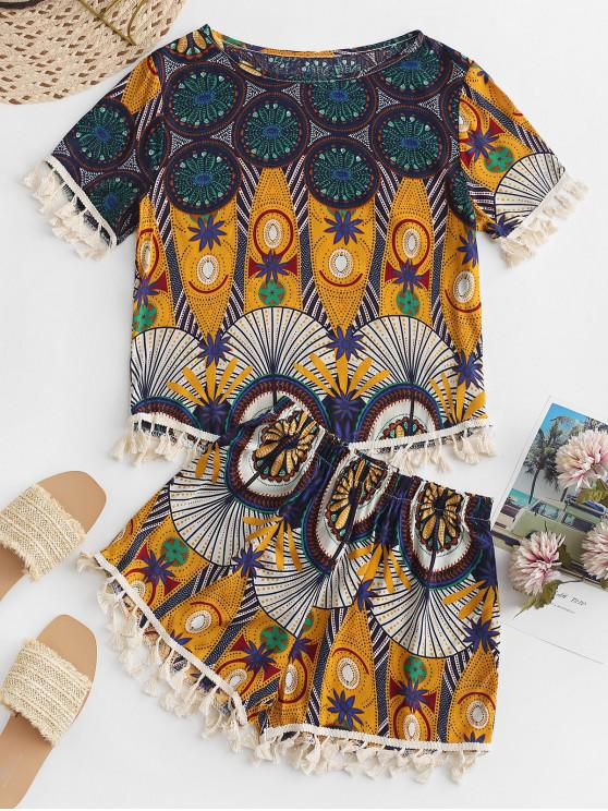 unique Ethnic Print Tassel Loose Shorts Set - MULTI-A L