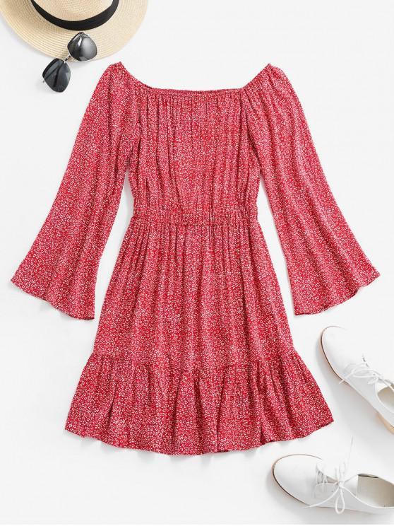 women's ZAFUL Off Shoulder Tiny Floral Flare Dress - CHESTNUT RED L