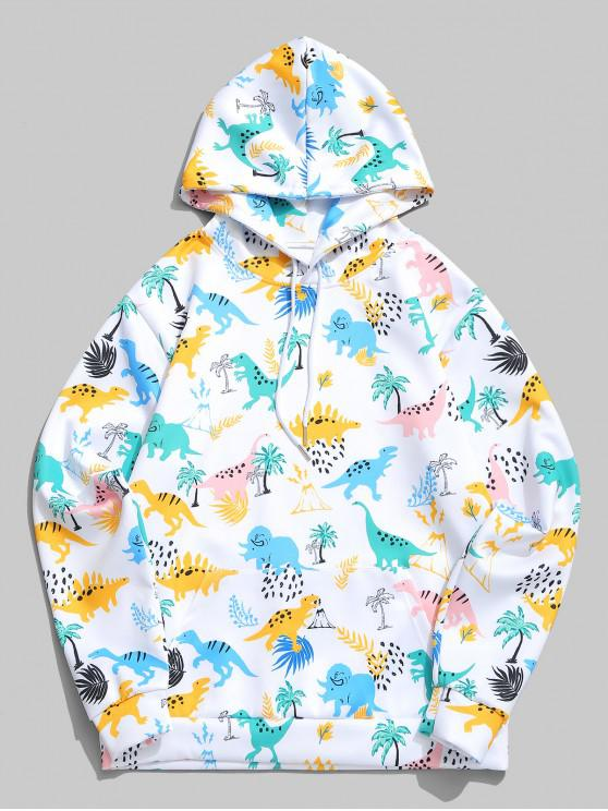 affordable Tropical Plant Cartoon Dinosaur Print Casual Hoodie - WHITE M