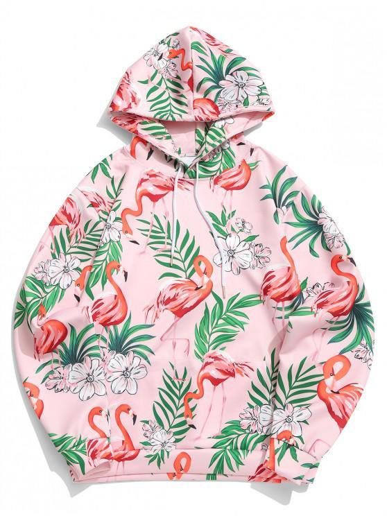 buy Tropical Plant Floral Flamingo Print Kangaroo Pocket Hoodie - ROSE XL
