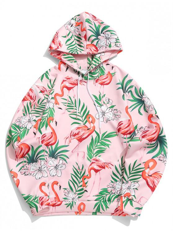ladies Tropical Plant Floral Flamingo Print Kangaroo Pocket Hoodie - ROSE 2XL