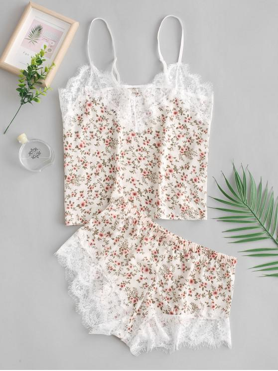trendy Cami Tiny Flower Lace Insert Pajama Set - MULTI-A M
