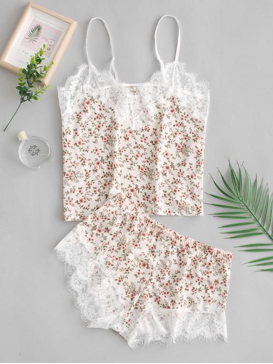 online Cami Tiny Flower Lace Insert Pajama Set - MULTI-A S