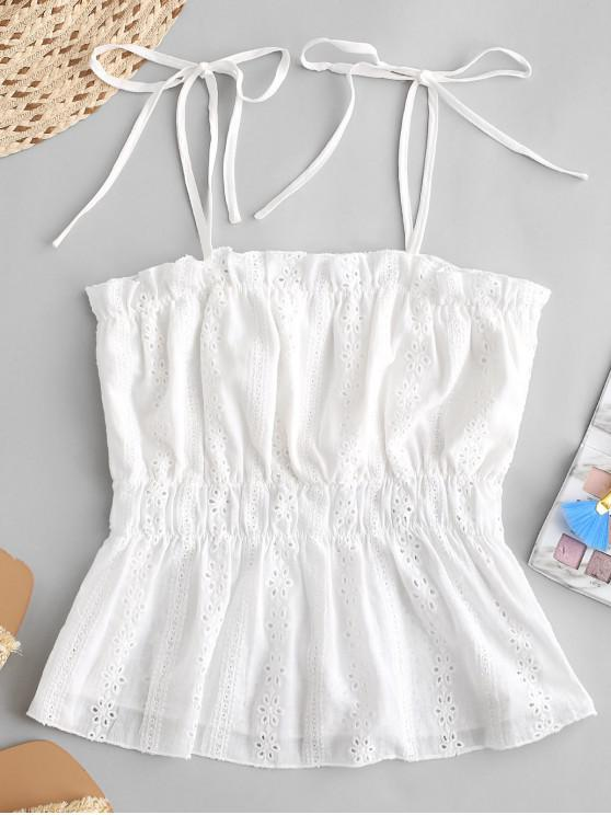ZAFUL Tie Broderie Anglaise Cami Top - Blanco L
