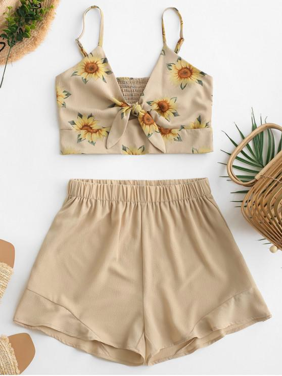 latest Smocked Knotted Sunflower Top And Shorts Set - BROWN SUGAR M
