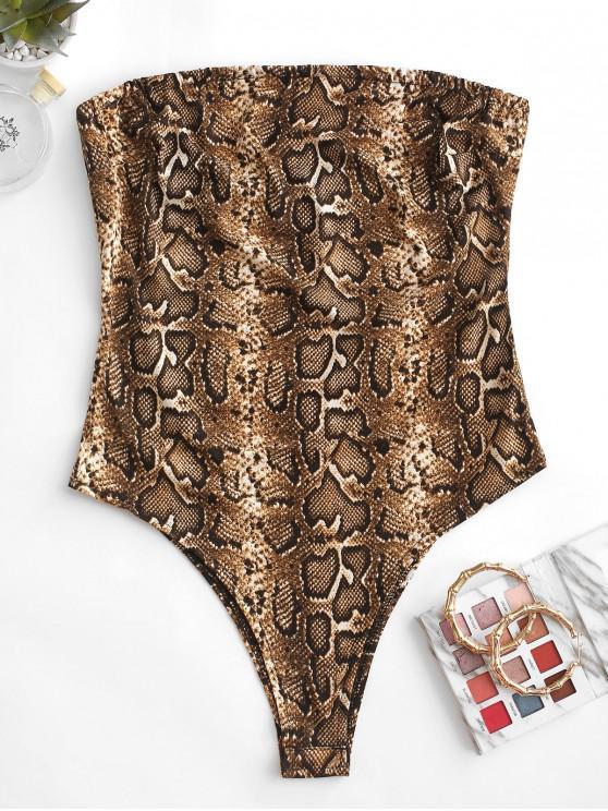 buy Snakeskin Strapless High Leg Bodysuit - MULTI-A S
