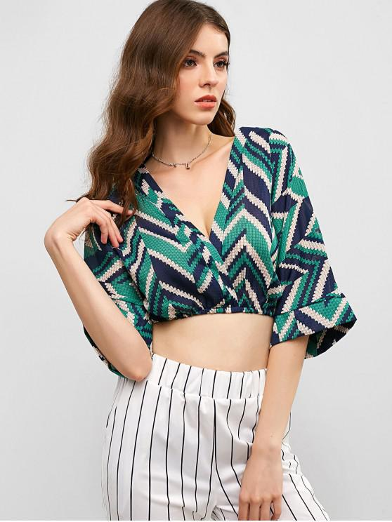 unique Zig Zag Batwing Sleeve Plunging Crop Blouse - MULTI-A M