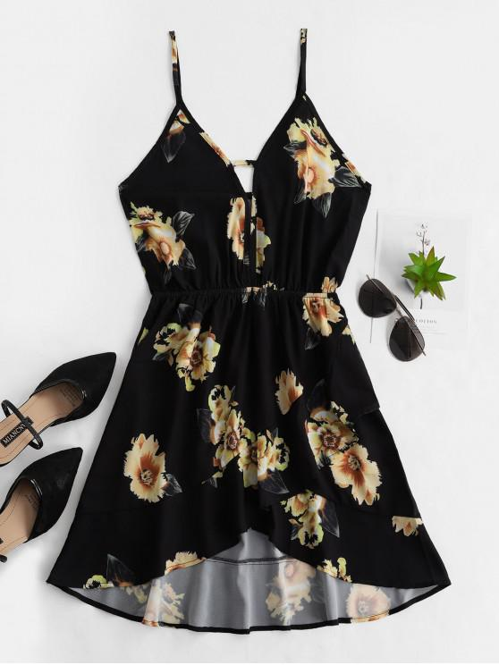 affordable Floral Cut Out Ruffles Cami Dress - BLACK S