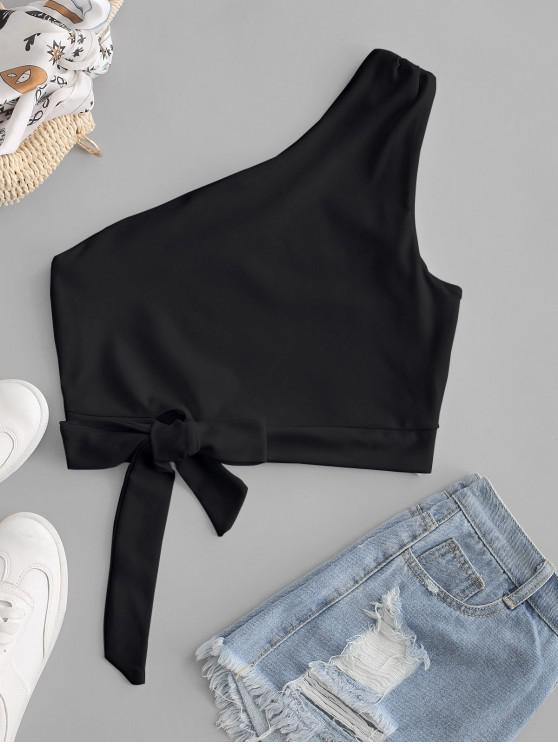 trendy One Shoulder Knotted Crop Tank Top - BLACK M