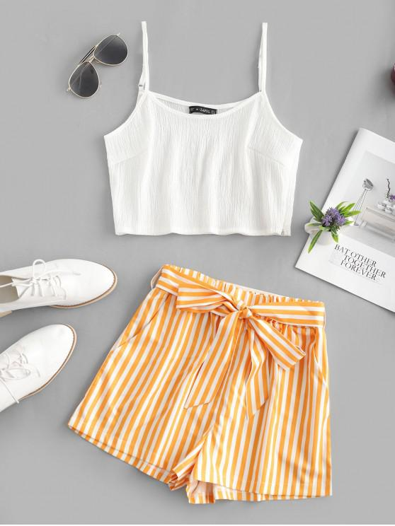 unique Crop Cami Top and Striped Belted Shorts Set - BEE YELLOW M