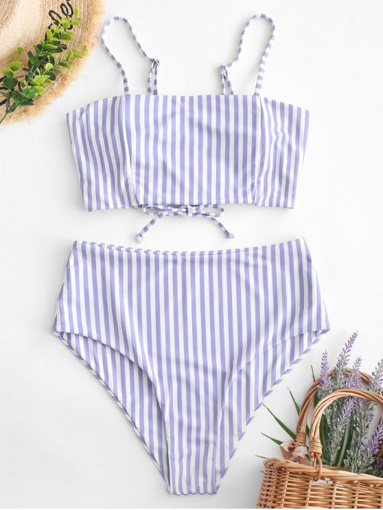 women ZAFUL Striped Lace Up High Waisted Tankini Swimwear - MULTI-A S