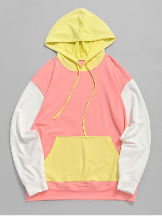Felpa con cappuccio e tasca a marsupio ZAFUL Color Block Cut and Sew - Multi Colori-A 2XL